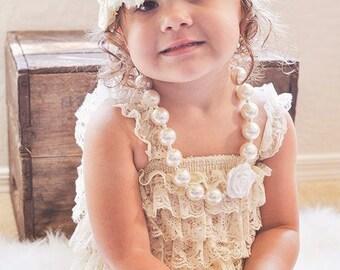 Cream Lace Petti Romper-Baby Lace Romper-Vintage Romper-Lace Romper-Beige Petti Romper-Shabby Chic Baby-Flower Girl Romper-Ruffle Romper