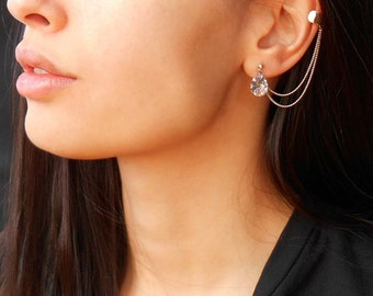 Ear Cuff Earrings, Cuff earrings with crystals, Chain ear cuff earrings, Silver ear cuff earrings