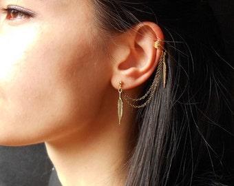 Leaf Ear Cuff Earrings, Boho earrings, Chain ear cuff earrings, boho jewelry