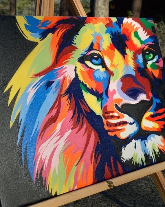 Color lion king of the jungle graffiti art spray paint for How to spray paint art on canvas
