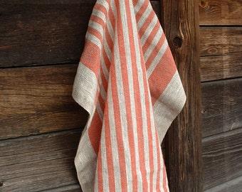Linen Kitchen Towel; Natural Linen Tea Towel; Striped Gray & Red Rough Linen Dish Towel; Burlap Linen Hand Towel; Pure Linen Massage Towel