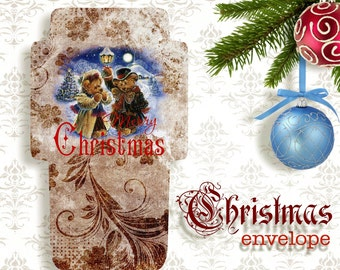 CHRISTMAS BEARs - Printable Download Digital Collage Sheet Envelope with print on reverse side - Print and Cut