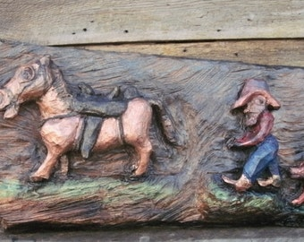 Trying to Catch His Horse, a Sugar Pine Carving