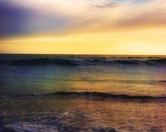 Ocean Photo, Surreal Color, Ocean and Clouds, Leo Carillo State Park, Malibu Beach, Ocean Clouds, Ocean Waves, Dreamy Sunset Pacific Photo