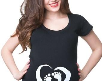 Pregnancy T-shirt Baby Footprints In Heart Maternity Shirt Pregnancy T Shirt Pregnant Tee T Shirt