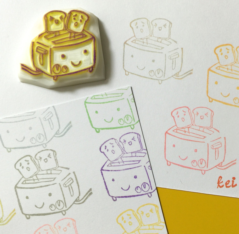 Cartoon toaster hand carved rubber stamp handmade toast