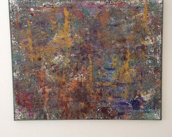 Abstract Neutral Art Landscape Painting Brown Blue Yellow Textured Art Nature Painting XL Original Acrylic Art Earth Tones Art 24x30 canvas