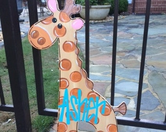 Giraffe Door Hanger, Baby Shower Door Hanger, Welcome, New Baby