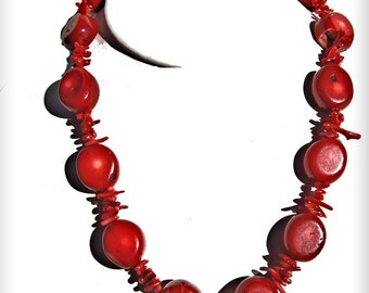 Necklace Red Italian 14MM Round Flat Beads Small Branch Coral Gift Ideas NCRDcoral06