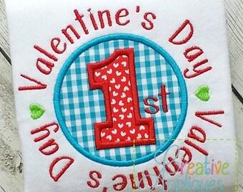 1st First Valentine's Day Digital Machine Embroidery Applique Design 4 Sizes