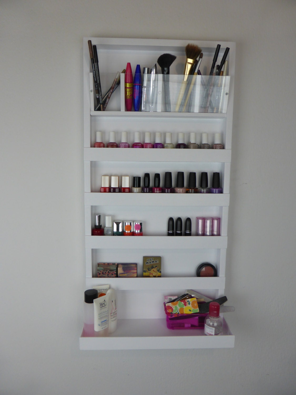 Ake up organizer nail polish rack bathroom storage - Meuble rangement maquillage ...