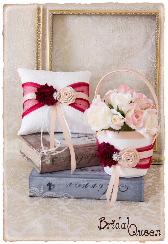 Flower Girl Baskets Canada : Wine and blush flower girl basket wedding ring bearer pillow
