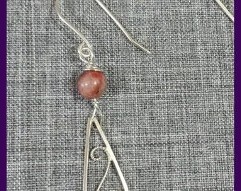 Sterling Silver Filigree Single Bead Red Sesame Jasper Earrings