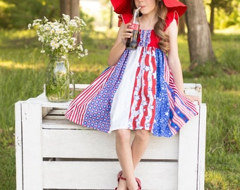 "Fabulous ""American Fireworks"" Celebration Sundress - Girls - Patriotic - Ruffle Dress - Red, White & Blue - Stripwork, Party - 4th of July"