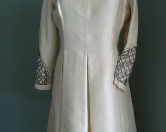 60's Vintage White Silk Shantung Dress Silver & Rhinestone Sleeve Trim