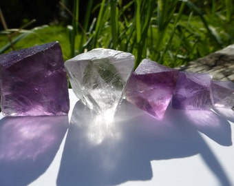 Fantastic Fluorite Octahedron Parcels with Five Crystals from China, Free Shipping!
