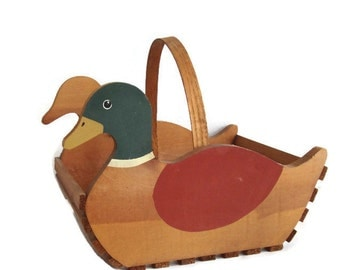 Rustic Duck Basket, Magazine Holder,  Wooden Crate Basket, Wooden Storage Basket