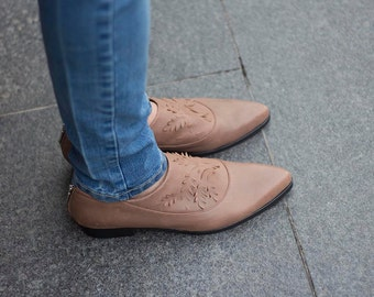 Brown Leather Flats, Soft Leather Slip On Shoes, Women Flat Leather Shoes, Women Brown Leather Shoes, Custom Made Shoes, Pointed Toe Flats