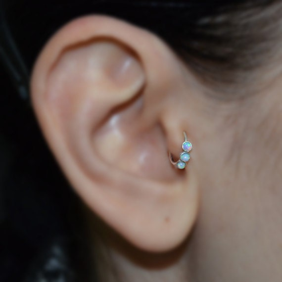Silver Tragus Earring 2mm Blue Opal Rook Earring Nose Ring