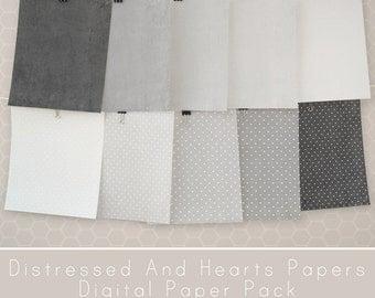 Grey Hearts Paper, Digital Distressed Paper, Grey Digital Paper Pack, Printable Paper, Scrapbooking Papers, Hearts Digital Paper