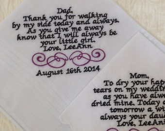 Set of two personalized handkerchiefs