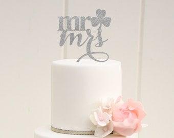 Mr and Mrs Clover Wedding Cake Topper - Irish St. Patricks Day Cake Topper