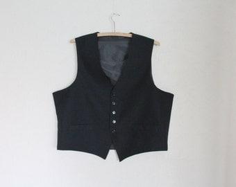 Black Mens Vest Classic Waistcoat Steampunk Gentlemen's Edwardian Victorian Renaissance Large Size