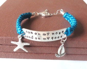 Sun On My Nose Sand On My Toes Beach Lovers Starfish Charm Bracelet You Choose Your Charm and Cord Color(s)