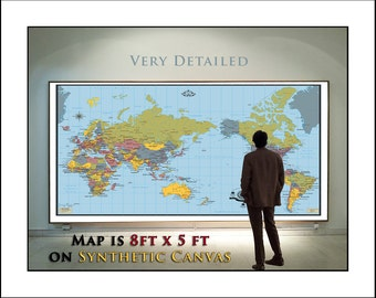 Large World Map,. Very Detailed Map of the World, Up To 8 feet x 5 feet wall map, Map 777