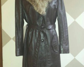 Vintage American 1970s Long Brown Leather Coat With Fox Fur Collar
