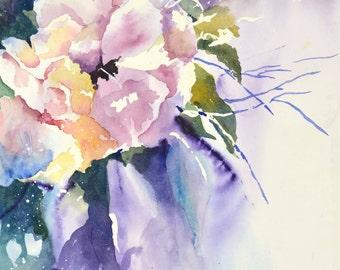 Botanical Art Print, Flower Watercolor Print, Rose Art, Floral Watercolor Painting, Abstract Pink Art,Nursery Wall Decor,Baby Art,Purple Art