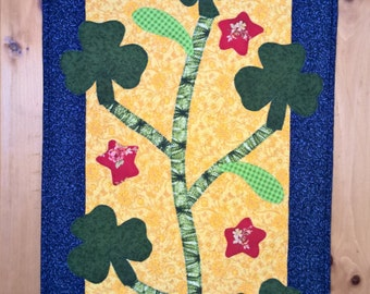 Luck of the Irish Quilt Table Runner | St. Patty's - Green Shamrocks and Red Stars Applique for Saint Patricks Day