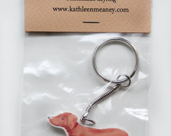Sausage dog/Dachshund animal keyring
