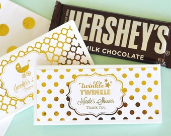 Twinkle Twinkle Baby Shower Candy Wrappers - Mint and Gold Baby Shower Favors - Personalized Candy Bar Wrapper COVER (EB4001FB) set of 24|