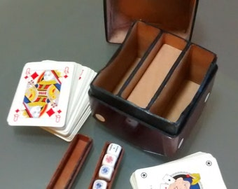 Vintage Leather Dice-Shaped Box with Poker Set. Made in Italy