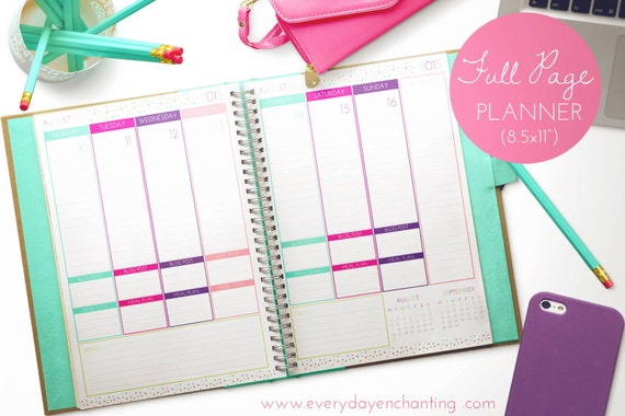 EDITABLE 2015 Printable Full Page Size Daily Planner pdf INSTANT DOWNLOAD- diy/Customize Editable in Adobe Reader