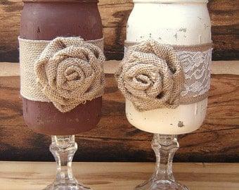 Country rustic burlap twine jute wedding vases by rusticdreamz - Stemmed mason jars ...