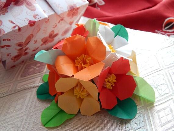 1st Wedding Anniversary Origami Petunia Flower Arrangement. - photo#26