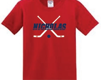 Personalized Hockey T-shirt, youth boy shirt with name