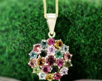 Multicolor Tourmaline Cluster Pendant   Prong Setting   Solid 14K Yellow Gold   14KY   Fine Jewelry   Free Shipping