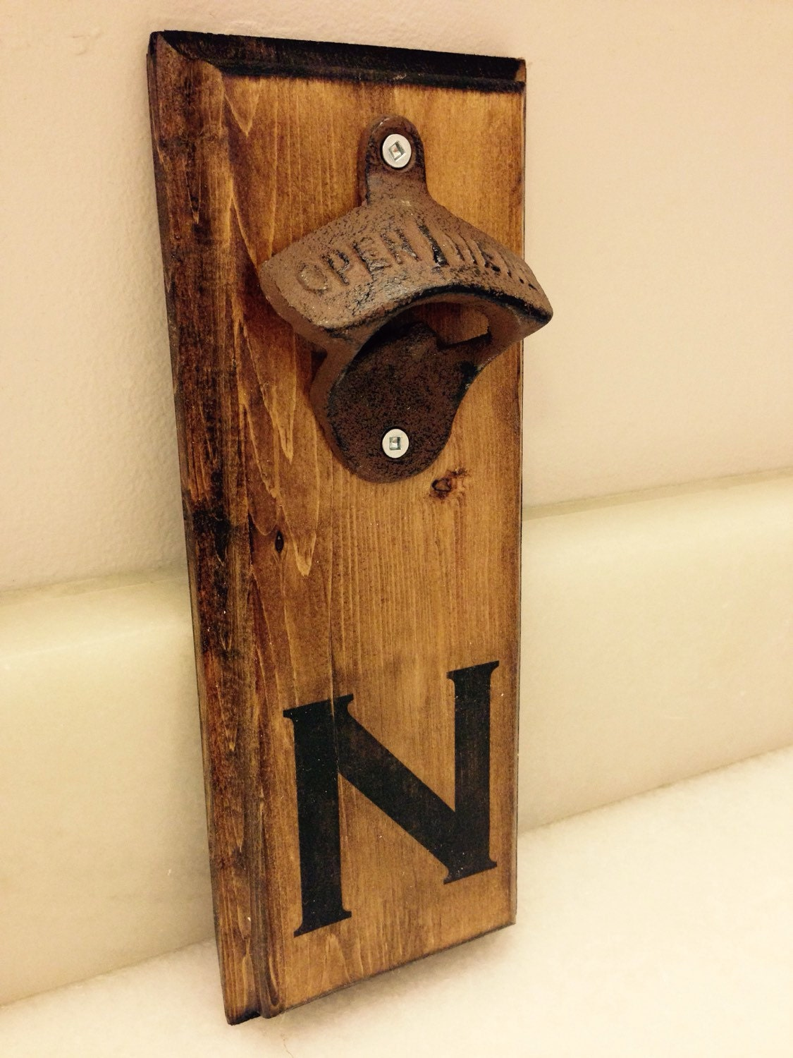 Personalized wall mount bottle opener rustic request a - Personalized wall mount bottle opener ...