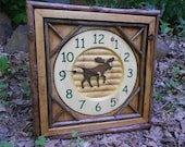 Rustic Clock, Twig Carved Moose Clock, log cabin decor, wall clock, carved face and frame clock