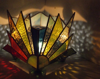 Sun Dancing with the Rainbow on clear sky - Votive Candle holder - Stained Glass