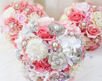 Coral Pink Brooch Bridal Bouquet, Jewelry Bridal Bouquet, Spring Summer Coral Wedding, Silk Flower Wedding Bouquet, Bridesmaid Bouquet, BQ39