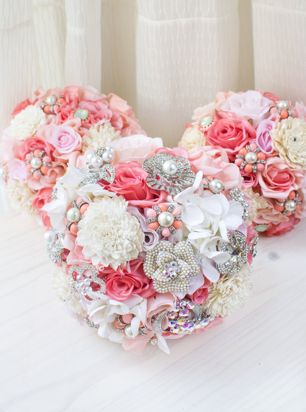 Coral Pink Brooch Bridal Bouquet Jewelry Bridal Bouquet