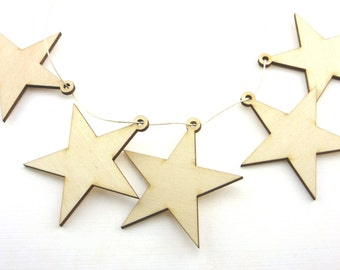 Laser cut wooden stars 2 x 2 Inches - Perfect for Garlands