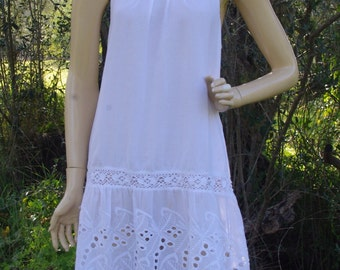 Embroidered Cotton Dress With Lacy Mesh Detail