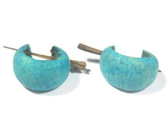 Wooden green turquoise spikey coconut shell punk emo surfer syle earrings with spike or stick pierced ethnic.