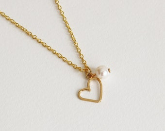 Heart charm necklace, Delicate charm necklace, Heart and pearl necklace, Single pearl necklace