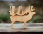 "RESERVED -- Wonderful wooden haircomb ""Deer"""